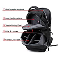 Sheffla DSLR SLR Camera Backpack Bag Case for Canon Nikon Sony by Sheffla