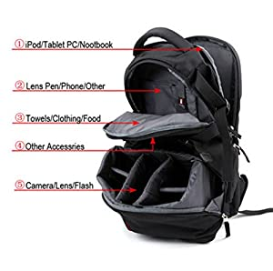 Sheffla DSLR SLR Camera Backpack Bag Case for Canon Nikon Sony by Sheffla