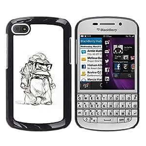 FlareStar Colour Printing Grumpy Old Man Retired White Black cáscara Funda Case Caso de plástico para BlackBerry Q10