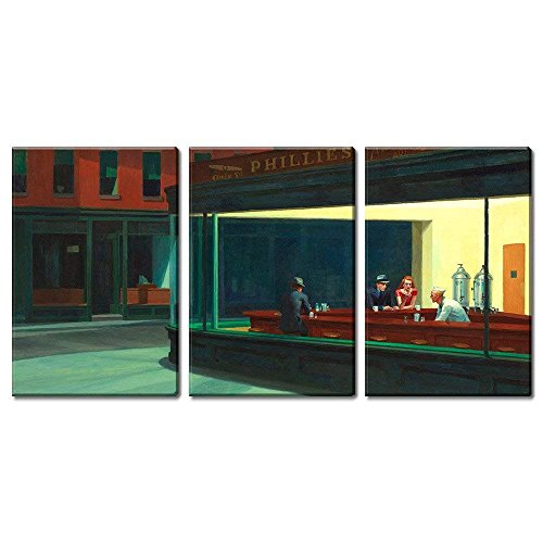 wall26 3 Panel World Famous Painting Reproduction on Canvas Wall Art - Nighthawks by Edward Hopper - Modern Home Decor Ready to Hang - 24
