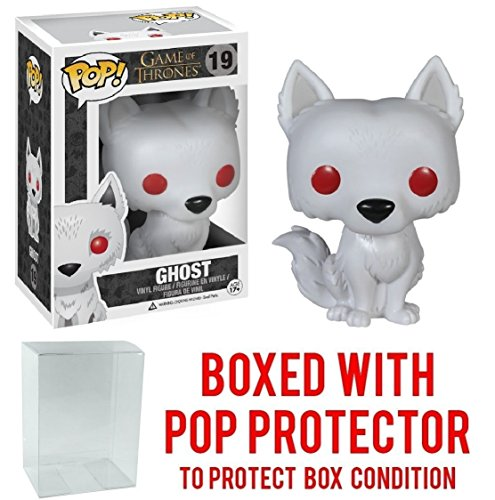 Funko Pop! Game of Thrones: Ghost - Dire Wolf Vinyl Figure (Bundled with Pop BOX PROTECTOR CASE) by Funko