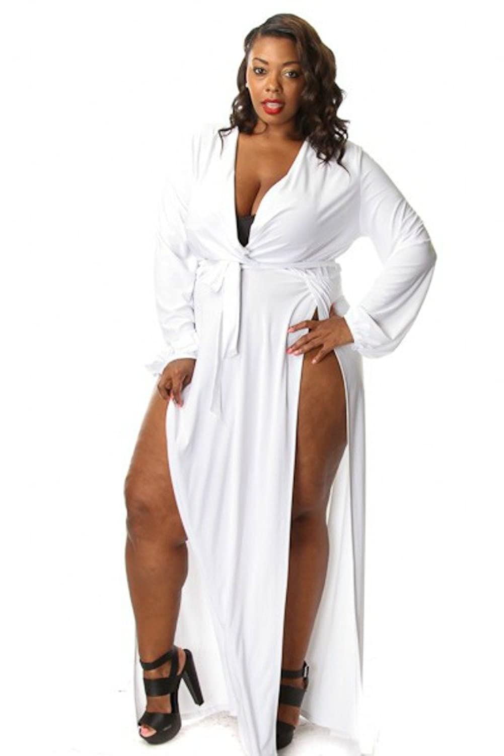Long white maxi dress plus size