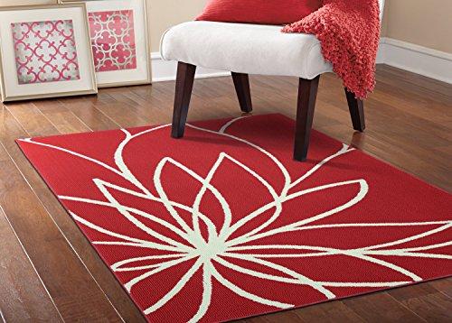 - Garland Rug Grand Floral Area Rug, 5 x 7, Santa Fe Coral/Ivory