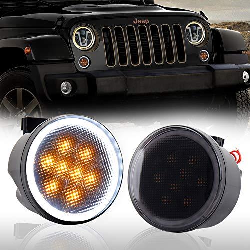 (Jeep Turn Signal Lights White Halo Amber LED Smoke Lens Front Grille Parking Lights for 2007-2018 Jeep Wrangler JK & JK Unlimited)