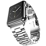 Apple Watch Band, Oittm Stainless Steel Metal Replacement Strap Wrist Band Classic Polishing Apple iWatch Strap with Double Button Insurance Folding Clasp for Apple Watch (Silver 42mm)