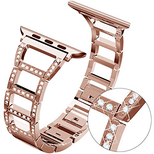 ITSHINY Compatible Replacement for Apple Watch Band 38mm 40mm, Adjustable Fashion iWatch Bands for Women, Metal Sport Strap for iWatch Series 4 3 2 1 (Rose Gold, 38/40mm)