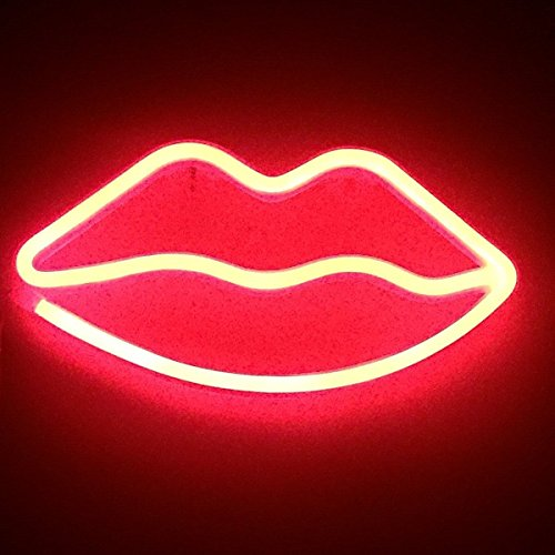 Led Neon Cactus Sign Love Sign Art Decorative Lights Wall Decor Home Party Decoration Kids Room Living Room LED Decorative Neon Lights (Lips)