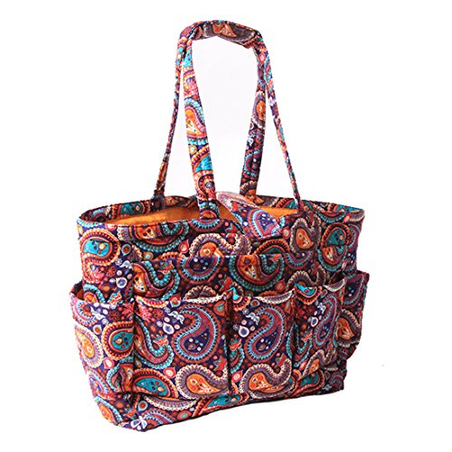 Floral Quilted Cotton Needle Bag Knitting Bag Yarn Storage Tote (Purple Paisley) by MAGOU (Image #1)