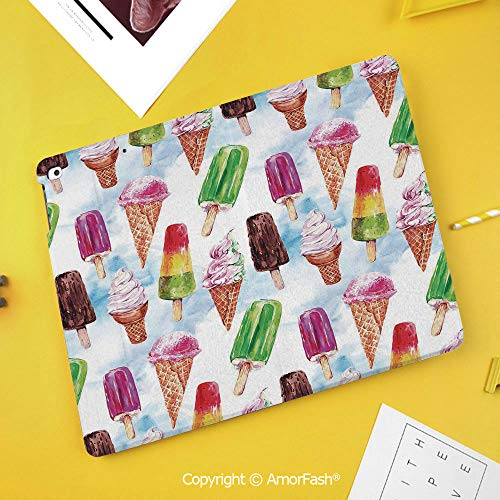 Slim Case for Samsung Galaxy Tab S4 T830 T835 SM-T837 10.5 Protective,Ice Cream Decor,Surreal Exotic Type of Ice Cream Motif with Raspberry Kiwi Flavor Display,Multicolor