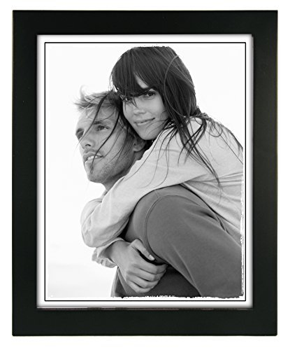 8x10 Black Wood Picture Frame – Made to Display Pictures 8x10 – Wide Molding, Real Glass – Wall Mount or Table Top