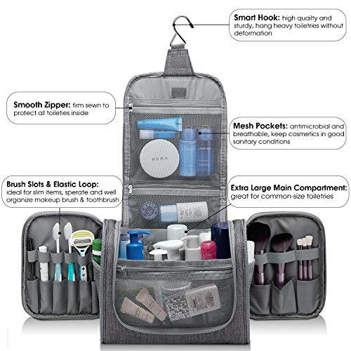 Extra Large Hanging Toiletry Bag Travel Cosmetic Organizer Shower Bathroom Bag for Men Women Water-resistant (X-Grey Denim)