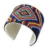Viva Handmade Holiday Shopping Native Multi Color Bead Work Leather Cuff Bracelet