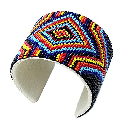Viva Handmade Holiday Shopping Native Multi Color Bead Work Leather Cuff - Bracelets For Men Beaded Indian