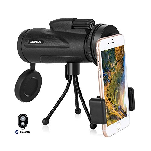 OBOSOE Cell Phone Telescope, 12x50 Dual Focus Monocular Telescope, Low Light Night Vision Prism Scope forBird Watching Hunting Camping Hiking Traveling (FREE REMOTE SHUTTER) by OBOSOE