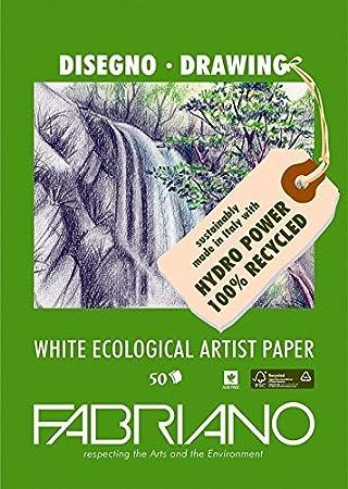 Unbekannt Fabriano Zeichenblock 21 x 29.7 x 0.5 cm FSC 100/% Recycling wei/ß