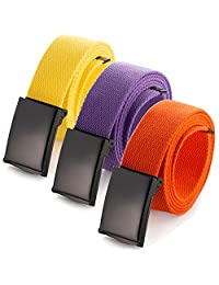 """Cut To Fit Canvas Web Belt Size Up to 52"""" with Flip-Top Solid Black Military Buckle (Yellow/Orange/Purple)"""