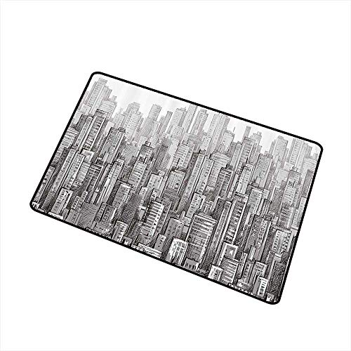 Thin Door mat Urban City Landscape with Skyscrapers Apartments Downtown Modern Sketch Panorama Artwork W20 xL31 Machine wash/Non-Slip Grey White