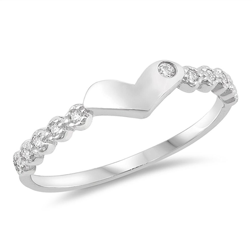 Sterling Silver Bezel Set Clear Cubic Zirconia Modern Heart CZ Ring - Size 4