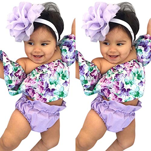 (3Piece Infant Toddler Baby Girls Floral Print Outfits Set,Flounce Ruffle Crop Top Shorts Bottom Hairband Suit Purple)