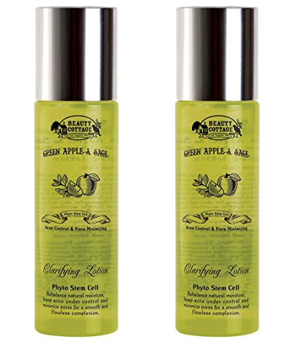 - Beauty Cottage Green Apple&Sage Acne Control & Pore Minimizing Clarifying Lotion 100 ml. (Pack of 2)
