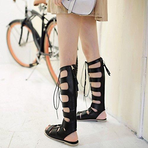 COOLCEPT Mujer Moda Cordones Sandalias Punta Abierta Plano Zapatos Negro