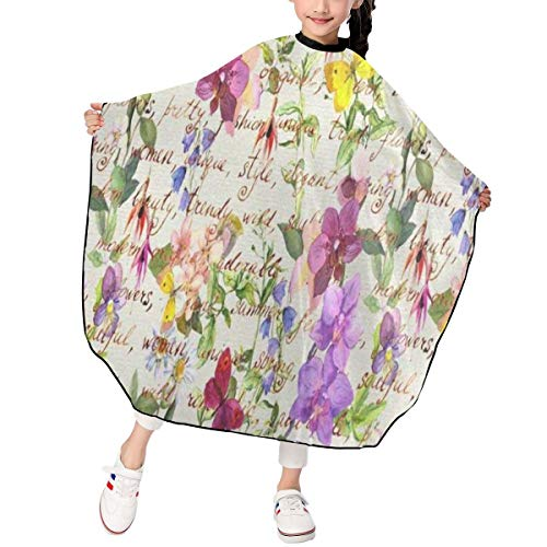 (Haircut Cape Retro Meadow Flowers Personalized Hairdressing Apron Polyester Water Resistant Hair Cutting Cape for Kids)