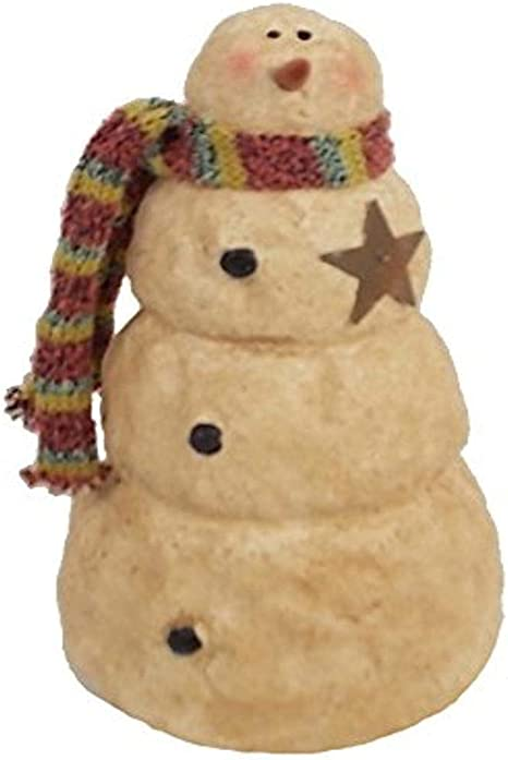 Amazon Com Craft Outlet Papier Mache Snowman With Metal Star And Scarf Figurine 7 Inch Home Kitchen
