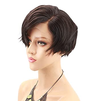 Short Lace Front Human Hair Wigs Bob Side