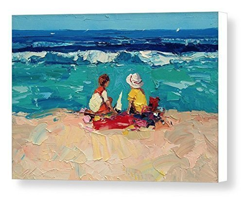 Children Scene Beach Art Prints Impressionist Modern Canvas Artwork Seascape Wall Art Sea Ocean Sand Home Decor Living Room Bedroom Gift Ideas Her Women Christmas Gifts from Painting Agostino Veroni by AGOSTINO VERONI ORIGINAL PAINTINGS AND FINE ART PRINTS