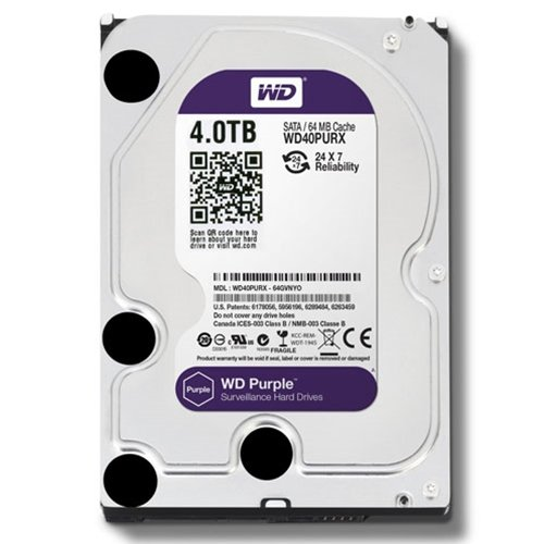 WD Purple 4TB Surveillance Hard Disk Drive - 5400 RPM Class SATA 6 Gb/s 64MB Cache 3.5 Inch - WD40PURX [Old Version] (Drive Components)