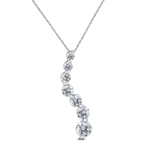 AGS Certified 1 4 Carat TW Diamond Journey Pendant in 10K White Gold