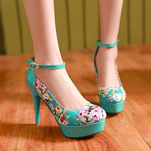Easemax Moda Donna Stampa Floreale Punta Tonda Cinturino Alla Caviglia Stiletto Scarpe Con Tacco Alto Pompe Blu