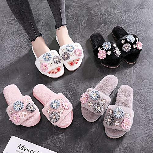 Slides Flip Furry Women Flower Rivets Beading Slippers Crystal Pearl T JULY Designer White Women's Fur Flops Handmade qwWZSgv