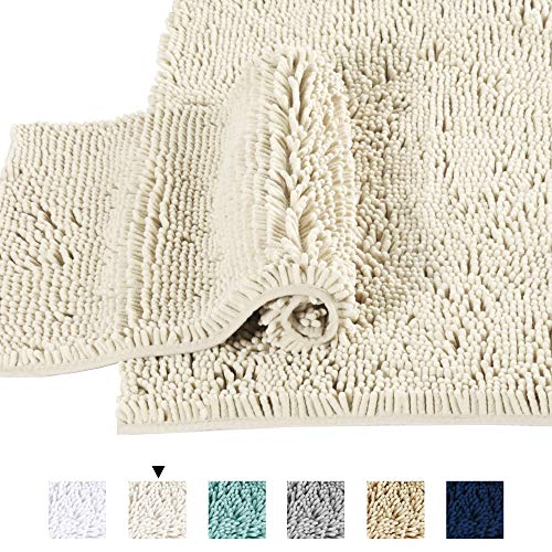 Microfiber Bath Rugs Chenille Floor Mat Ultra Soft Washable Bathroom Dry Fast Water Absorbent Bedroom Area Rugs Indoor Mats for Entryway, Cream 20