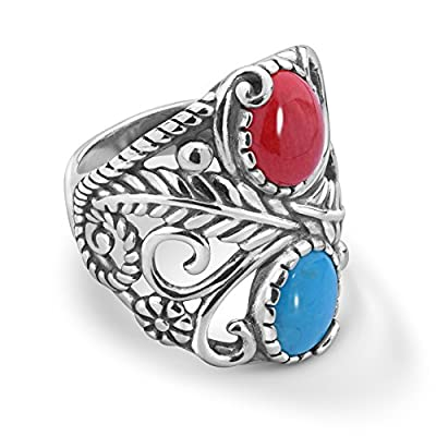 American West Sterling Silver Blue Turquoise and Red Coral Gemstone Leaf Vine Ring Size 5 to 10