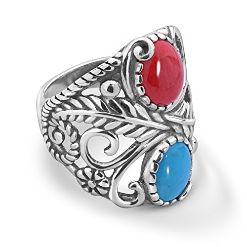 American West Sterling Silver Blue Turquoise and Red Coral Gemstone Leaf Vine Ring Size 10