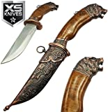 New 12'' Intricate BEAR Head Bronze Dagger Eco'Gift LIMITED EDITION Knife with Sharp Blade w/ HANGING LOOP Functional Blade