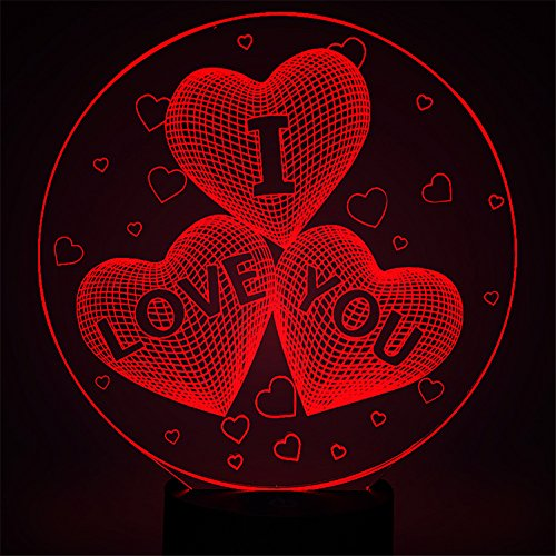 3D Heart Lamp, I Love You Sign Optical Illusion Night Light for Nursery / Decor / Living Room