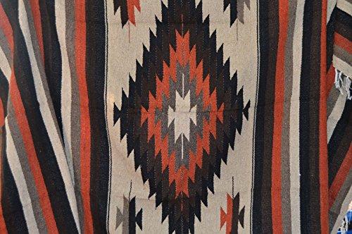 (Galaxy Reborn Mexican Blanket Tribal Diamond Burnt Umbre 80 x 48 Authentic Premium XLarge Handwoven Southwestern Throw Serape Yoga Rug)