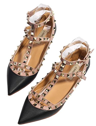 Toe Buckle PU Comfortable Shoes Studs Dress black Women's Pointy Flats beige Pumps Metal soft Strappy CAMSSOO Zx8YAwgnw