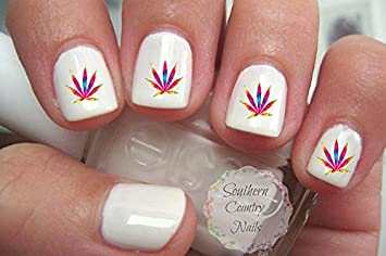 Amazon Tie Dye Pot Leaf Weed Nail Art Decals Beauty
