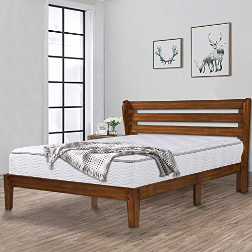 Ecos Living 14 Inch High Rustic Solid Wood Platform Bed Frame with Headboard/No Box Spring/No Squeak (Brown, ()