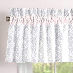Carousel Designs Pink and Gray Damask Window Valance Rod Pocket