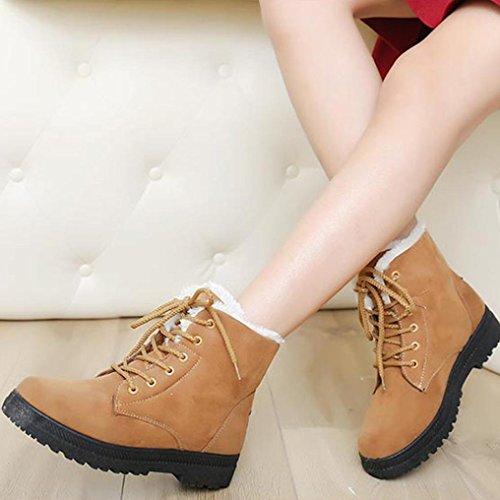 Marrón de Nuevo Manadlian invierno nieve para moda Negro Botas de cálido Botas de 37 Arranque mujer cortas Calzado EU clásico H8wwq