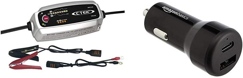 12V 15 W 12 W Presa Europea 5 Amp Caricabatterie da Auto USB-C CTEK MXS 5.0 Caricabatterie Automatico Carica, Mantiene e Ripristina Batterie da Auto e Moto e USB-A Basics