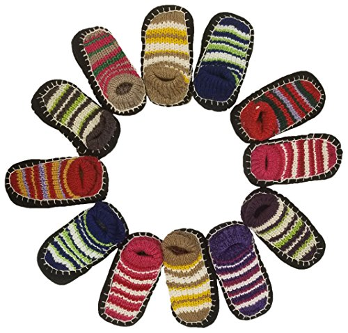Kids Knit Booties, 12 Pairs, Indoor Non Slip House Socks, Crochet Patterned Size 6-8 ()