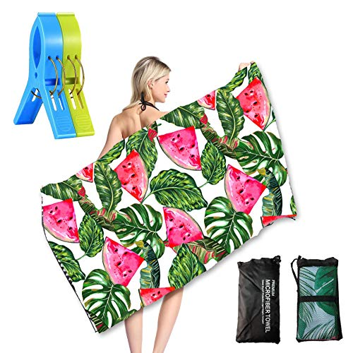 Microfiber Beach Towel, Oversized Extra Large Big Outdoor Travel Blanket - Portable Quick Fast Dry Sand Free Proof for Girls/Women/Kids 3061 inch(Tropical Leaves ()