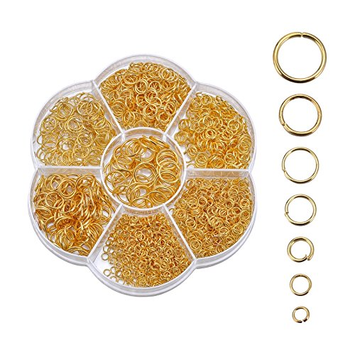 VALYRIA 1 Box 1450pcs Gold Open Jump Rings Jewelry Making Findings 3mm-10mm