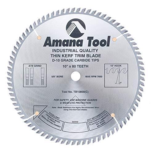 80t Atb Thin - Amana Tool - TB10800 Carbide Tipped Thin Kerf Trim 10