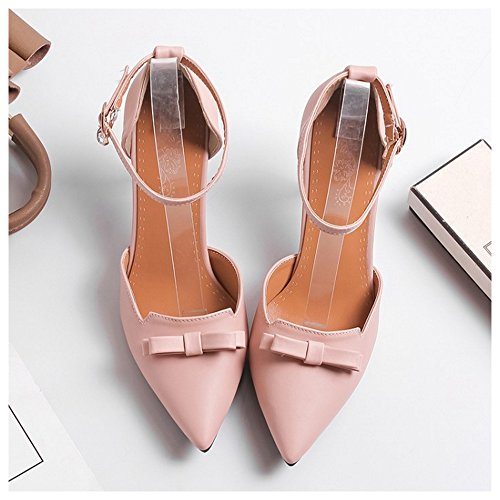 TAOFFEN Shoes Women Pink Summer Pointy 7 STS8WzrqB